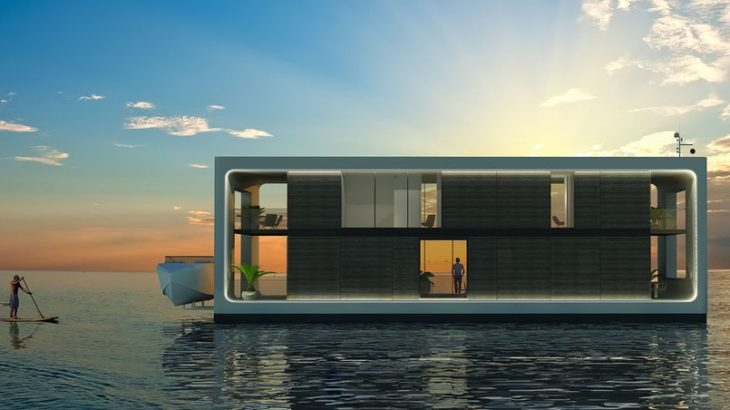 luxury home floating on water
